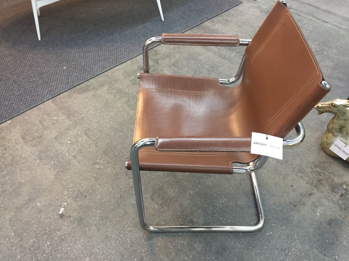 Italian 1970s leather and chrome chair Antiques Vintage Mid