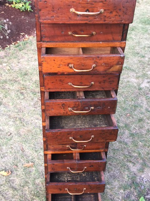 Industrial Tall Narrow Vintage Chest Of Drawers For