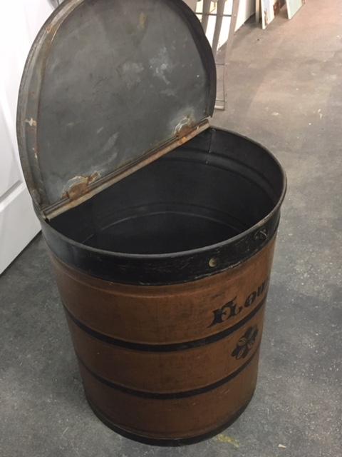 Industrial Vintage English Flour Metal Bin Antiques